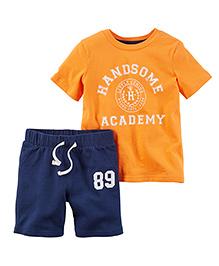 Carter's 2-Piece Jersey Tee & French Terry Short Set - Orange & Navy
