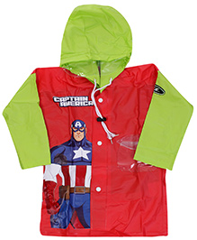 Marvel Full Sleeves Captain America Super Hero Print Hooded Raincoat - Red And Green