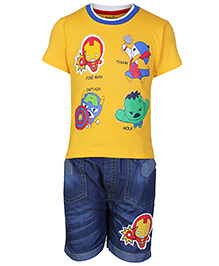 Babyhug Half Sleeves T-Shirt And Denim Shorts Yellow - Fireman Print