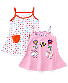 Ohms Slip Dress Multi Print Pack Of 2 - White Pink