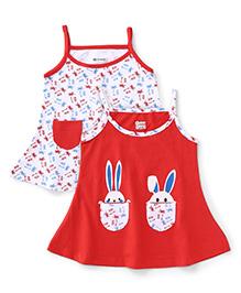 Ohms Singlet Slip Dress Multi Print Pack Of 2 - Red White