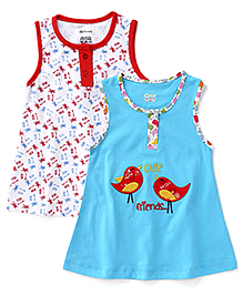 Ohms Sleeveless Frocks Trees And Birds Print Pack Of 2 - Blue White