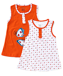 Ohms Sleeveless Frocks Stars And Butterflies Print Pack Of 2 - Orange White