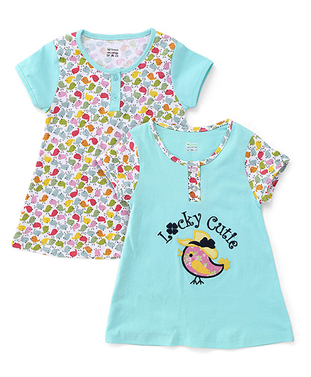 Ohms Short Sleeves Frock With Bird Patch - Turquoise