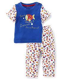 Ohms Half Sleeves T-Shirt And Pajamas Set Fish Print - Blue White