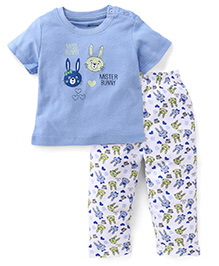 Ohms Half Sleeves T-Shirt And Pajamas Set Bunny Print - Blue White