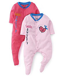 Ohms Full Sleeves Footed Sleep Suits Multi Print Pack Of 2 - Pink