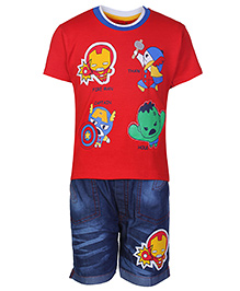 Babyhug Half Sleeves T-Shirt And Denim Shorts Red - Fireman Print