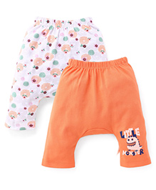 Ohms Printed Diaper Leggings Pack Of 2 - Orange & White