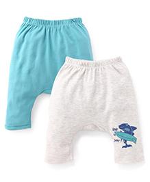 Ohms Printed Diaper Leggings Pack Of 2 - Grey & Turquoise