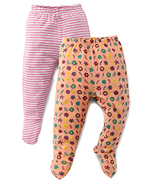 Ohms Bootie Leggings Pack Of 2 - Pink & Orange