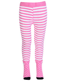 Mustang Stripes Print Footed Tights - Light Pink