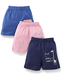 Ohms Shorts Pack Of 3 - Pink Navy Blue & Dark Blue