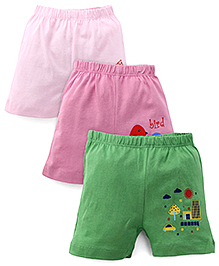 Ohms Shorts Pack Of 3 - Light Pink Pink & Green