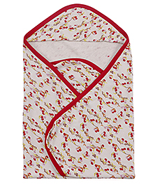 Ohms Terry Hooded Towel Printed - Red And Cream