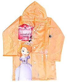 Disney Full Sleeves Princess Print Hooded Raincoat - Orange