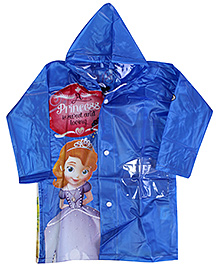 Disney Full Sleeves Princess Print Hooded Raincoat - Blue
