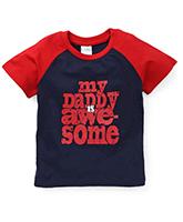 Babyhug Raglan Sleeves T-Shirt Text Print - Navy Blue Red