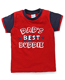 Babyhug Raglan Sleeves T-Shirt Text Print - Red Navy Blue