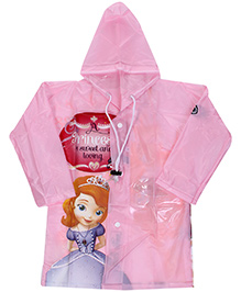 Disney Full Sleeves Princess Print Hooded Raincoat - Pink
