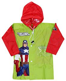 Marvel Full Sleeves Captain America Super Hero Print Hooded Raincoat - Green And Red