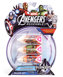 Marvel Avengers Print Eraser Set Of 3 - Multi Color