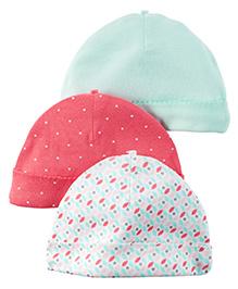 Carter's Set Of 3 Bonnet Caps - White Pink Green