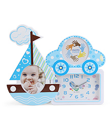 Alarm Clock With Ship And Car Shape Photo Frame - Blue White
