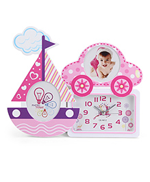 Alarm Clock With Ship And Car Shape Photo Frame - Pink White