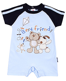 Child World Half Sleeves Romper Best Friends Print - Dark Navy And Sky Blue