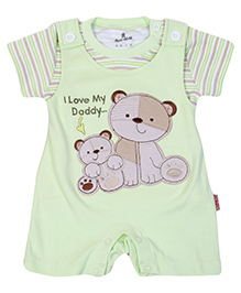 Chilld World Dungaree Style Romper With T-Shirt - Light Green