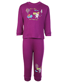 Zero Full Sleeves Cartoon Printed T-Shirt And Legging Set - Purple