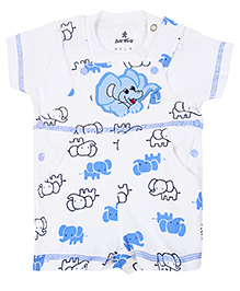 Child World Dungaree Style Romper With T-Shirt Elephant Print - Blue And White
