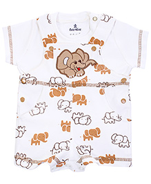Child World Dungaree Style Romper With T-Shirt Elephant Print - Brown And White