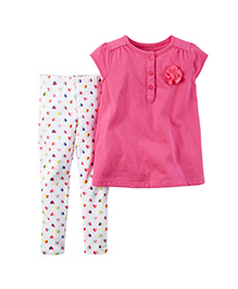 Carter's 2-Piece Top & Legging Set - Pink & White