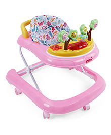 Musical Baby Walker With Attached Toy - Pink Yellow