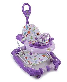 Musical Baby Walker Cum Rocker With Push Handle - Purple Pink