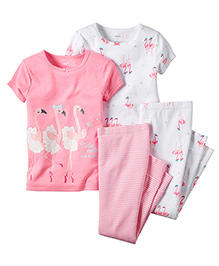 Carter's 4-Piece Snug Fit Cotton PJs - Pink White