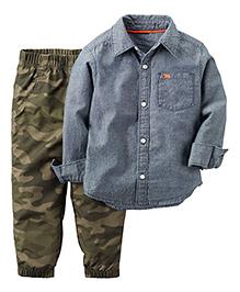 Carter's 2-Piece Chambray Shirt & Jogger Set - Multicolor