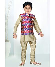 Enfance Kurta Jacket And Jodhpuri Breeches Set - Beige Red & Blue