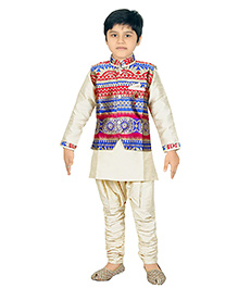 Enfance Solid & Printed Combination Ethnic Set - Off White Red Blue