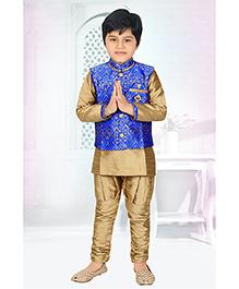 Enfance Kurta Self Print Jacket Ethnic Set - Gold & Blue