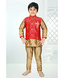 Enfance Self Print Jacket Kurta & Breeches Set - Golden & Red