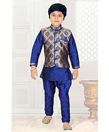 Enfance Ethnic Kurta Pajama With Jacket - Blue