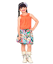 Tiny Baby Multicolour Floral Print Skirt & Top Set - Orange