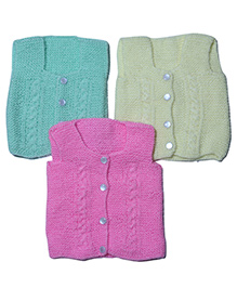 Soft Tots Pack Of 3 Vests - Pink Yellow & Mint