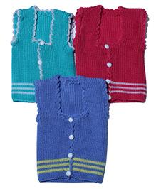 Soft Tots Pack Of 3 Vests - Mint Red & Blue
