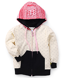 Tiny Bee Girls Hooded Jacket - Off White