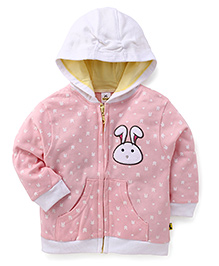 Tiny Bee Bunny Print Applique Hooded Jacket - Light Pink