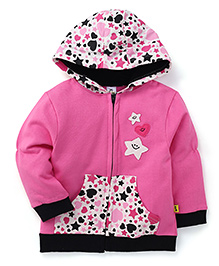 Tiny Bee Girls Star Applique Hooded Jacket - Hot Pink